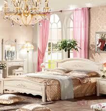 Wooden Bed Bedroom Furniture White European Style Wooden Bed Platform Bed