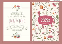 4 designer vector material flowers wedding invitations