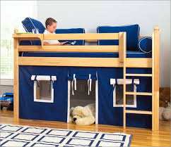 Boys Bed Frame Loft Bed For Minimalist Look Bedroom Blue Hue Wooden Frame
