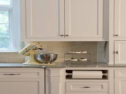 kitchen built in paper towel holder built in under cabinet paper