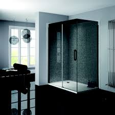 prestige matt black 1200mm sliding shower door 8mm smoked glass