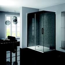 Bathroom Glass Sliding Shower Doors by Prestige Matt Black 1200mm Sliding Shower Door 8mm Smoked Glass