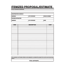 Hvac Estimate Template by Contractor Itemized Estimate Forms Forms Letters