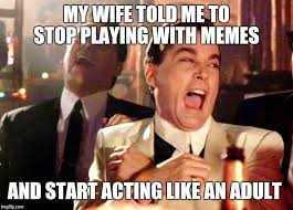 my wife told me to stop playing with memes and start acting like an