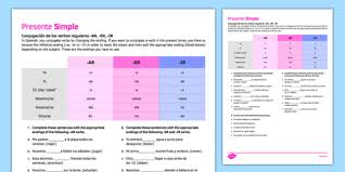 tense regular ar er ir verbs activity sheet worksheet