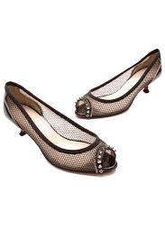 christian louboutin black mesh shawnita spike kitten heels 31563