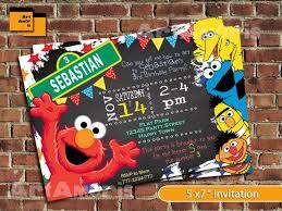 sesame street birthday invitations with photo tags sesame street