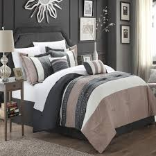 carlton taupe grey tan 10 piece embroidery comforter bed in a with