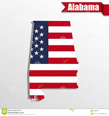 Alabama State Map Alabama State Map With Us Flag Inside And Ribbon Stock