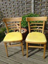 Yellow Retro Kitchen Chairs - lovely 1950s wooden ladder back kitchen chair with original red