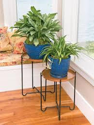 round metal plant stand with copper finish set of 2