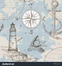 Map With Compass Hand Drawn Vector Seamless Sea Map Stock Vector 618875498