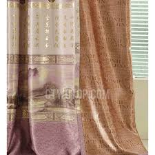 Gold Color Curtains Pattern In Gold Color Thick Purple Polyester Pastoral Living Room