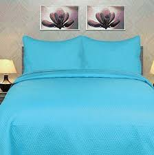 Blue Quilted Coverlet Dada Bedding Solid Gentle Wave Turquoise Teal Blue Thin