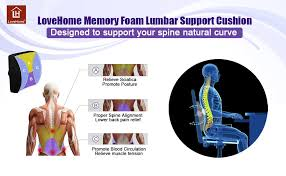 amazon com lovehome memory foam lumbar support back cushion with