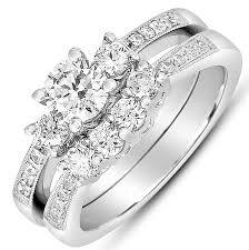 Antique Wedding Rings by 2 Carat Round Diamond Antique Wedding Ring Set In White Gold For