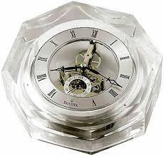 bulova b9851 centura octagonal crystal desk clock