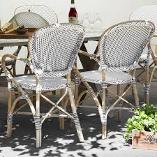 Outdoor Wicker Dining Chair Terrific White Cappuccino Dot Rattan Dining Chairs Set Of 2
