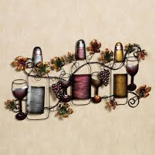kitchen eye catchy metal wine bottle and glass kitchen wall decor