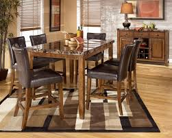 counter height rustic dining room set with bench is oak