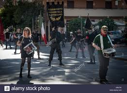 Red Flag Band Rome April 29 2017 Anti Fascist Take Part In A Parade In