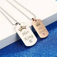 couples necklace king his stainless steel couples necklace couples jewels