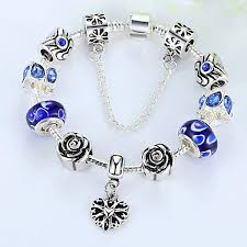 pandora style necklace silver images Roses are blue silver pandora style bracelet combo set with 11 jpg