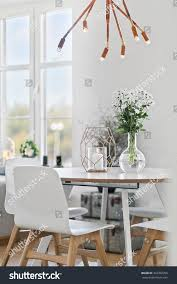 dining table clean modern interior stock photo 362762390