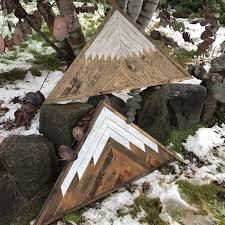 wood mountain wall rustic wood triangle mountain wall by bayocean rustic design