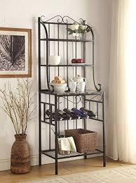Metal Bakers Rack With Wine Storage 4 Tier Black Metal Marble Finish Shelf Kitchen Bakers Rack With 5