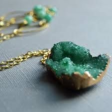 emerald green fashion necklace images Emerald green gold dipped druzy stone pendant necklace megan fenno jpg