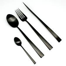 couvert de cuisine couverts noirs brossé en inox cutipol collection duna