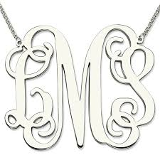 cheap monogram necklace wholesale sterling silver large size monogram necklace 2 inch