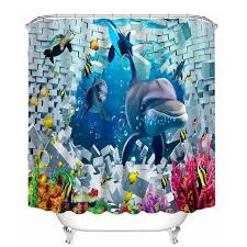 Shark Bedroom Curtains 3d Shark Bathroom Shower Curtain Waterproof Shark