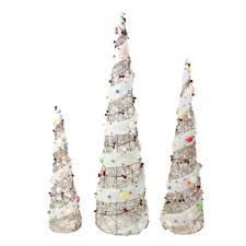 lit cone christmas tree outdoor decor 3 piece set