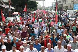 siege liberation mass march in gaza remembers abu ali mustafa demands to