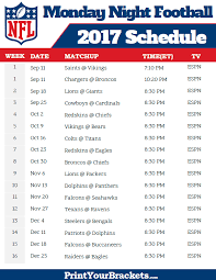 nfl monday football schedule 2017 printable