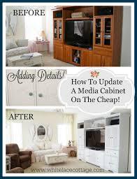 media cabinet diy makeover white lace cottage