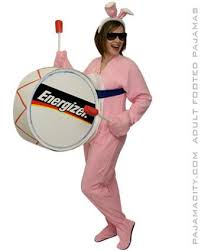 diy energizer bunny halloween costume idea using footed pajamas