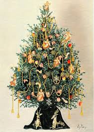 tree with 18th century williamsburg ornaments painting
