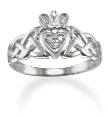 clatter ring celtic knot band diamond claddagh ring in 14k white gold only