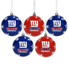 york giants 5 pack shatterproof ornaments