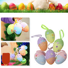 6 pcs lot glitter foam easter eggs hanging crafts decorations