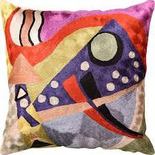 Kandinsky Abstract II Navy Purple Accent Pillow Cover Handmade Art