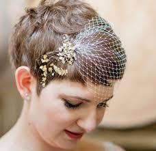 bridal hairstyle photos wedding hairstyle brides pixie haircut brown hair with veil