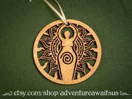 sun goddess ornament wood laser cut maine made