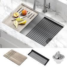 bowl kitchen sink for 30 inch cabinet kraus workstation 30 inch undermount granite composite single bowl kitchen sink in white with accessories walmart