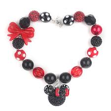 childrens necklace chunky necklace children s necklace with minnie pendants black