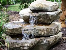 stacked rock falls great fountain for decks patios and in the