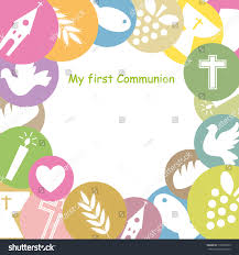 Holy Communion Invitation Cards Samples First Communion Invitation Card Framework Stock Vector 178769525